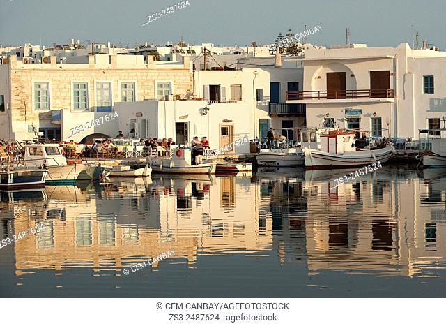 Fishing boats at the harbor, Naoussa, Paros, Greek Islands, Cyclades Islands, Greece, Europe