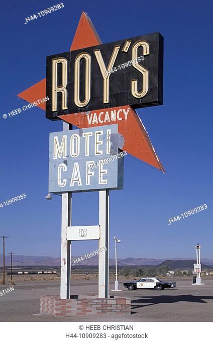 Roy's, Route 66, Amboy, Mojave Desert, California, USA, United States, America, road sign, historic, police car, desert, Mojave