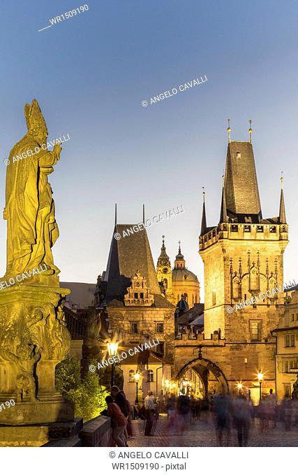 Old Town Bridge Tower from Charles Bridge, UNESCO World Heritage Site, Prague, Czech Republic, Europe