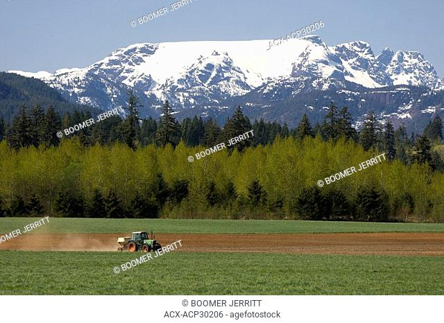A tractor spreads fertilizer before planting corn under the watchful eye of the Comox glacier. Courtenay, The Comox Valley, Vancouver Island, British Columbia