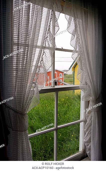 Looking out a window of the Benjamin Barbour House at the Barbour Living Heritage Village, Newtown, Bonavista Bay, Road to the Shore, Newfoundland & Labrador