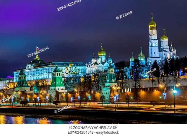Night view on Kremlin castle in Moscow
