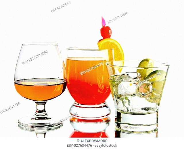 Various cocktails on white background