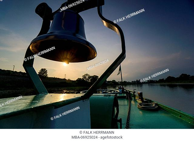 Germany, Saxony, Elbe river, paddle steamer, detail, bell, evening light