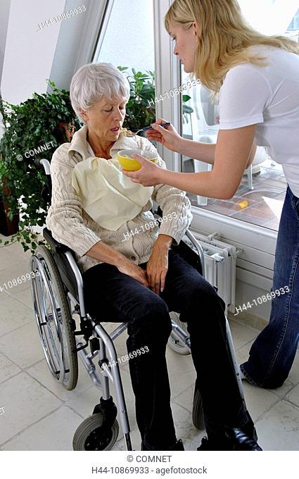 Boss, Senior citizen, wheel chair, apartment, apartment, nurse, control, inspect, discuss, examine, investigate, help, assist, ill, hostel, boss's hostel