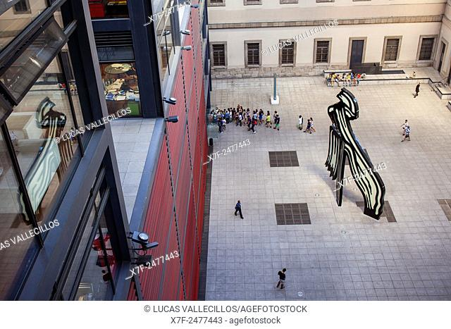 Reina Sofia National Art Museum, on middle of the yard is the Brushstroke Sculpture by Roy Lichtenstein. Madrid, Spain