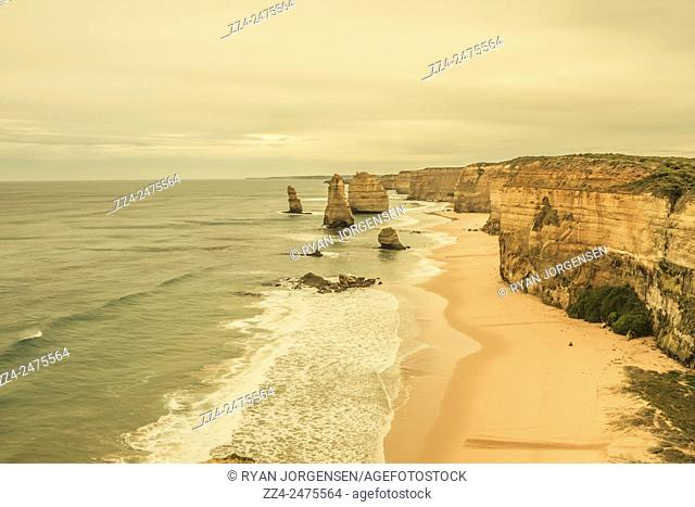 Morning daybreak horizontal landscape photo of the The Twelve Apostles scenic landmark in Victoria, Australia