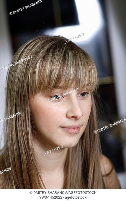 headshot of the pretty blond women indoors Caucasian, 24 years old