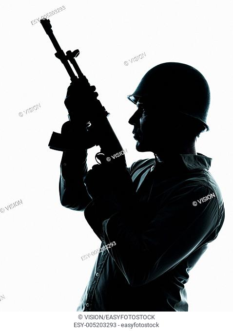 one caucasian army soldier man portrait on guard on studio isolated on white background