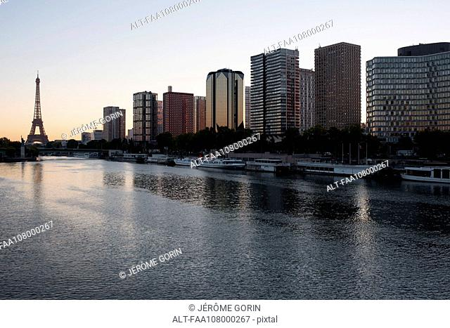 High rise buildings along the Seine River, Paris, France