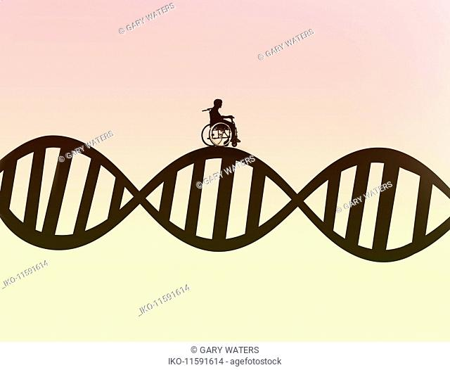 Man in wheelchair on DNA double helix