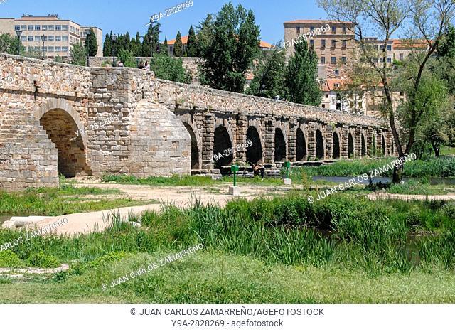 Salamanca, Puente Romano, Roman Bridge, Ith century BC to Ith century, Paseo Rector Esberabe, UNESCO World Heritage, Castilla y Leon, Spain