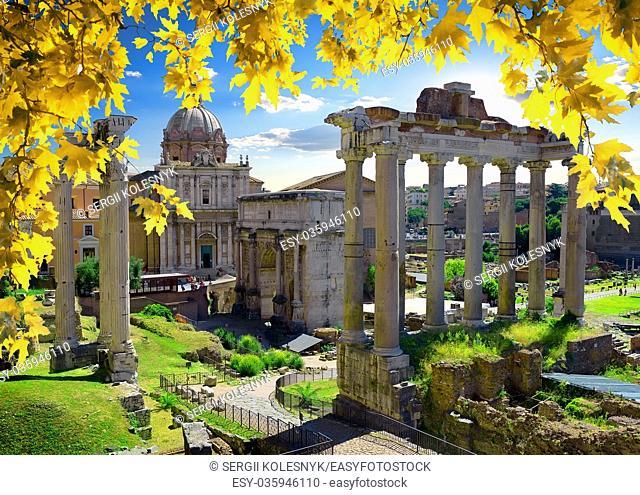 Ruins of Roman Forum at sunny autumn day, Italy