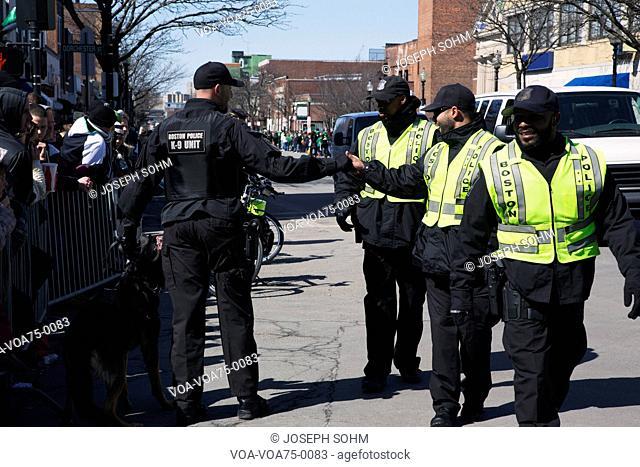 Happy police, St. Patrick's Day Parade, 2014, South Boston, Massachusetts, USA