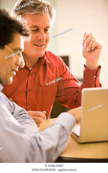 Two multi-ethnic businessmen having discussion on laptop in office