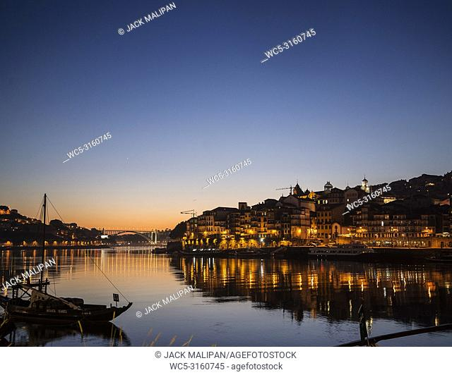 porto old town ribeira area and douro riverside in portugal at night