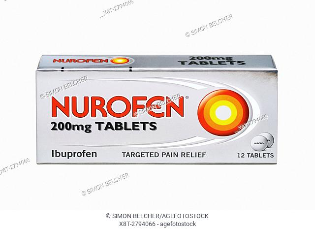 Box of Nurofen Tablets on a White Background