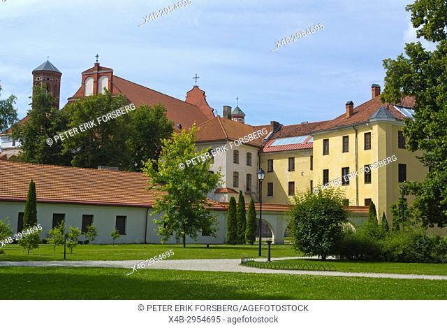 Bernardine park, Bernardinai parkas, with Bernardine parish church and buildings of Art Academy, Vilnius, Lithuania