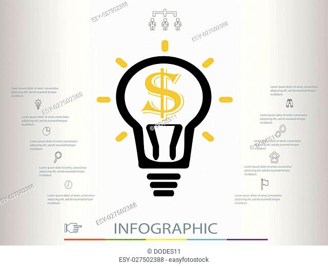 Infographic business concept.infographics with a light bulb.Infographic template made from lines and icons.Thin line flat circle for infographic