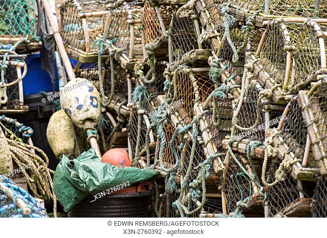 UK, England, Yorkshire - Fish and lobster traps in a small fishing village called Robin Hood's Bay, located on the coast of North Yorkshire, England