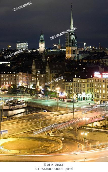 Sweden, Sodermanland, Stockholm, Slussen, night scene
