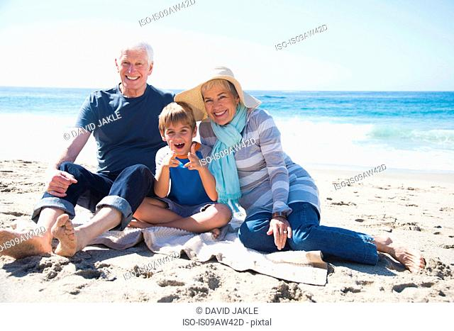 Portrait of grandparents and grandson, sitting on beach, smiling