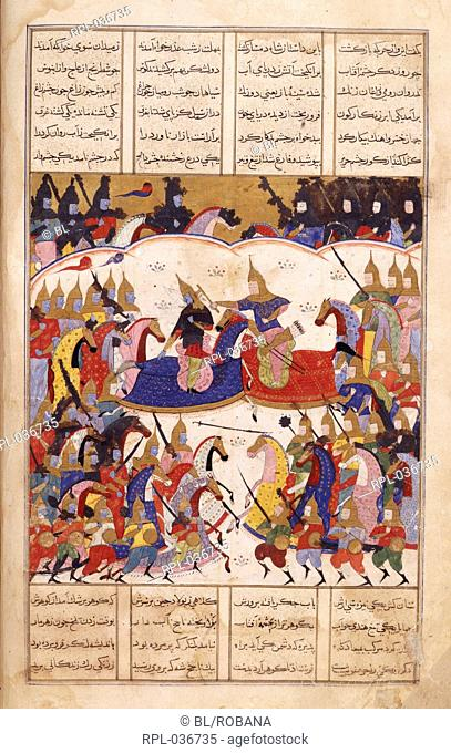 Iskandar fights the Zangis Iskandar fights the Zangis. A miniature painting from a sixteenth century manuscript of the Sharafnama the first part of Nizami's...