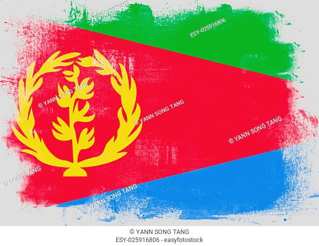 Flag of Eritrea painted with brush on solid background