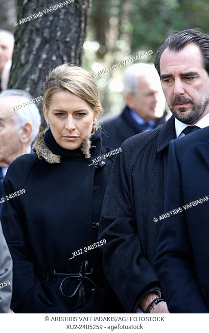 Prince NIKOLAOS with his wife Princess TATIANA attend the ceremony. The annual memorial service in honour of King Pavlos and Queen Frederika was held earlier...