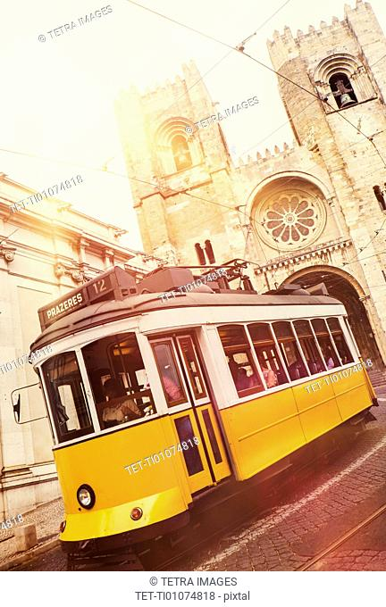 Tram in front of Lisbon Cathedral