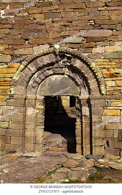 The Romanesque Doorway to 12th Century Kilmalkedar Church, Near Ballyferriter, Dingle Peninsula, County Kerry, Ireland