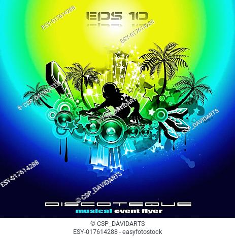 2012 New Year tropical music flyer
