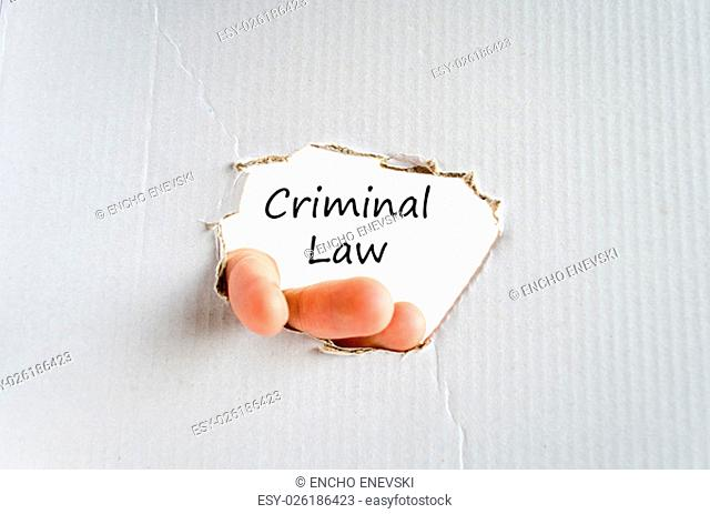 Criminal law text concept isolated over white background