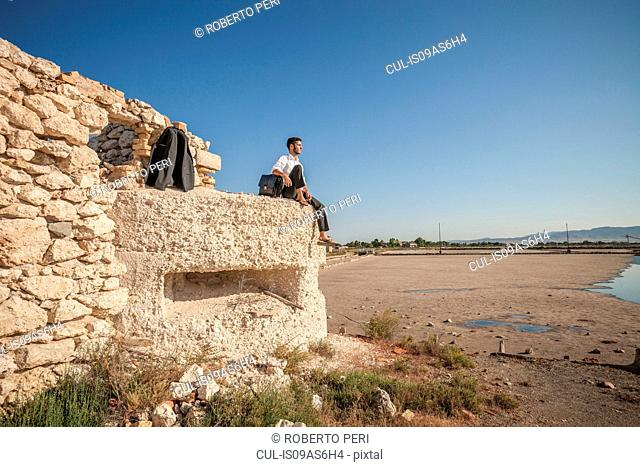 Mid adult business man looking out at sea from beach wall