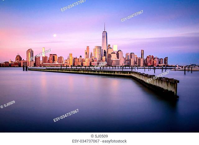 Sunset in Manhattan, shot from Jersey City across the Hudson