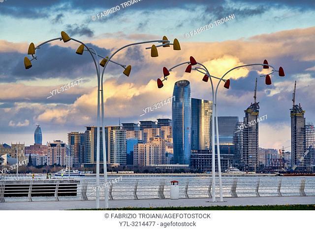 Skyline of the New City district of Baku at sunset, Azerbaijan