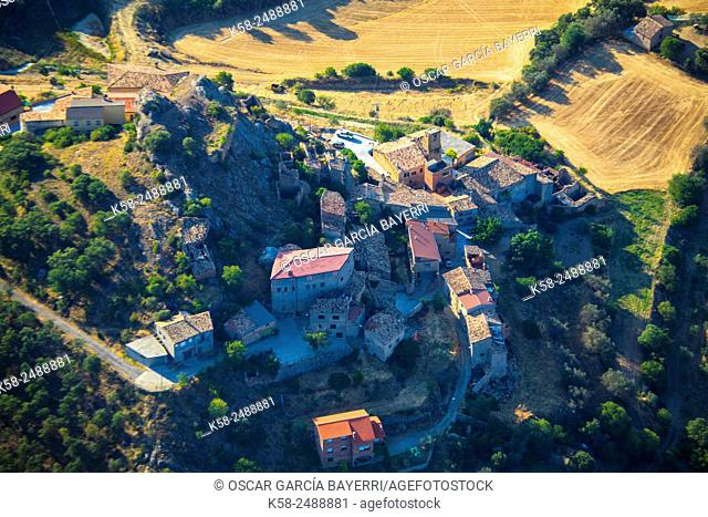 Aerial view of Corça, La Noguera in Lleida, Catalonia, Spain