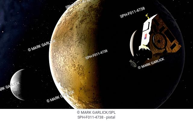 New Horizons spacecraft at Pluto, artwork. New Horizons launched from Earth on 19 January 2006 and will arrive at Pluto in July 2015