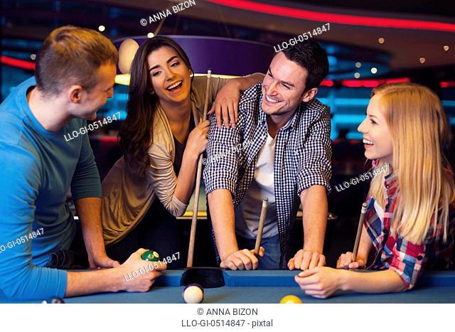 Funny time with friends in billiard club. Rzeszow, Poland