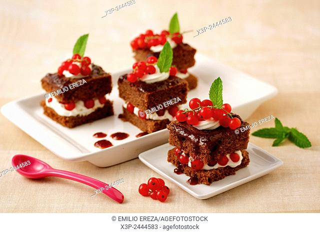 Chocolate sponge cake with red currants