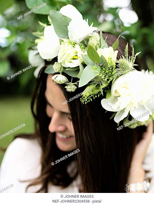 Woman wearing wreath
