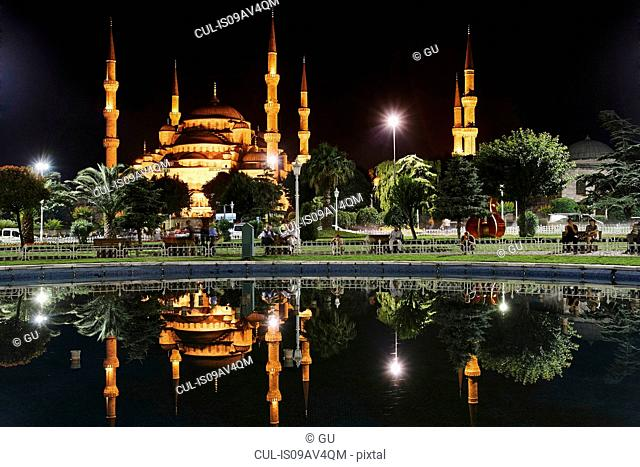 Sultan Ahmed Mosque at night, Istanbul,Turkey