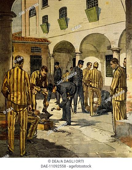 Civil reforms: The abolishing of chains in Italy's prisons. Illustrator Achille Beltrame (1871-1945), from La Domenica del Corriere, 3rd October 1902