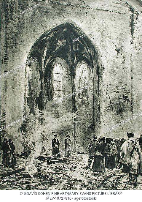 A service in a ruined church. Max Rabes, (1868-1944) - Austrian