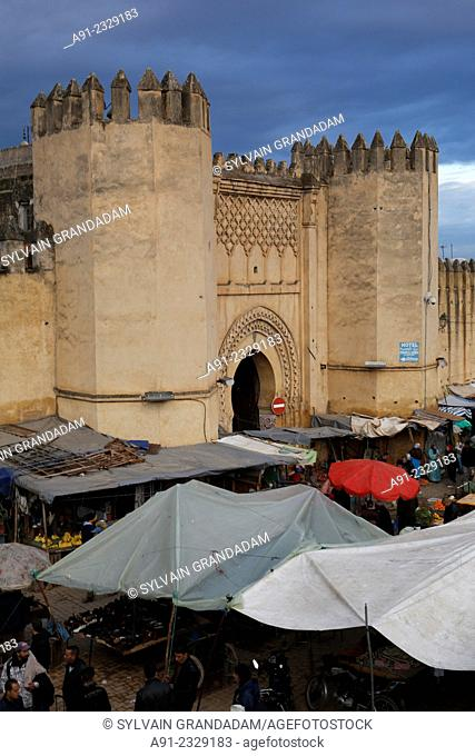 North Africa, Morocco, City of Fez (Fes), Medina, Bab Boujdoul Gate