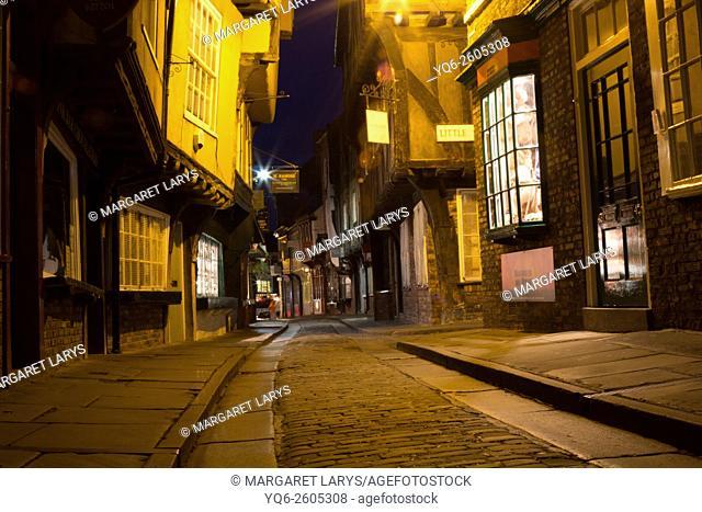 The Shambles, former butchers' street at night. York, North Yorkshire, England, United Kingdom