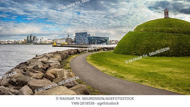 Landscape sculpture named The Hill. Artwork by Olof Nordal, located at Reykjavík's old harbour, Iceland