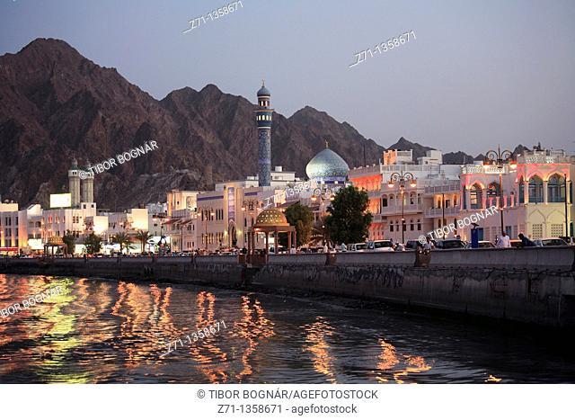 Oman, Muscat, Mutrah, skyline at dusk