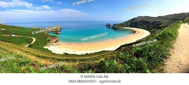 Torimbia beach, panoramic image. Niembro, Asturias, Spain