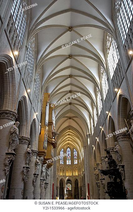 Inside St Michael and St Gudula Cathedral in Brussels, Belgiun